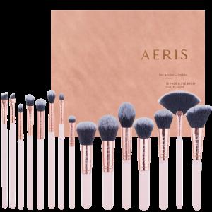 Aeris Beaute Coral 15 Face & Eye Brush Set